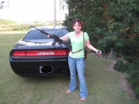 Nicole and her Challenger (a well protected car!)
